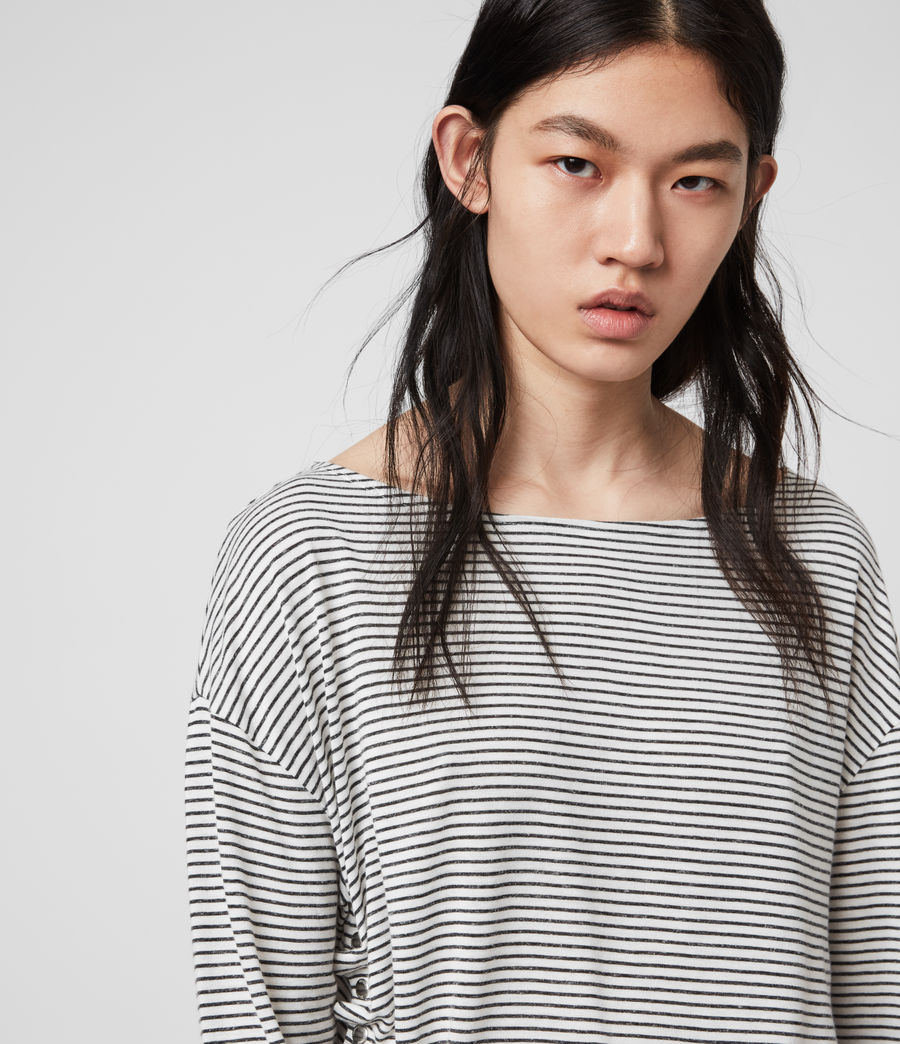 Women's Hatti Stripe T-Shirt (chalk_charcoal) - Image 2