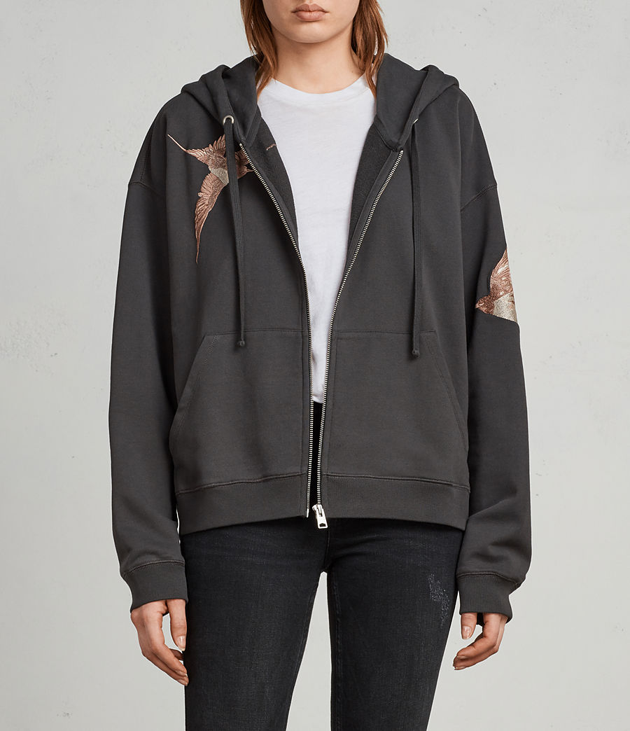Womens Birds Hoodie (washed_black) - Image 1