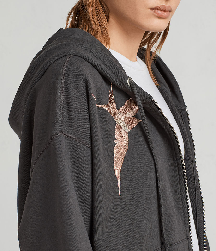 Womens Birds Hoodie (washed_black) - Image 2