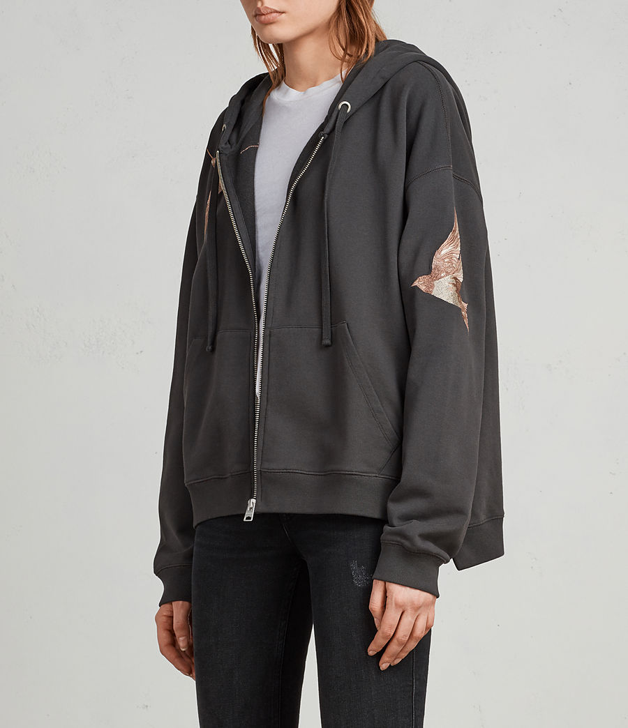 Womens Birds Hoodie (washed_black) - Image 3