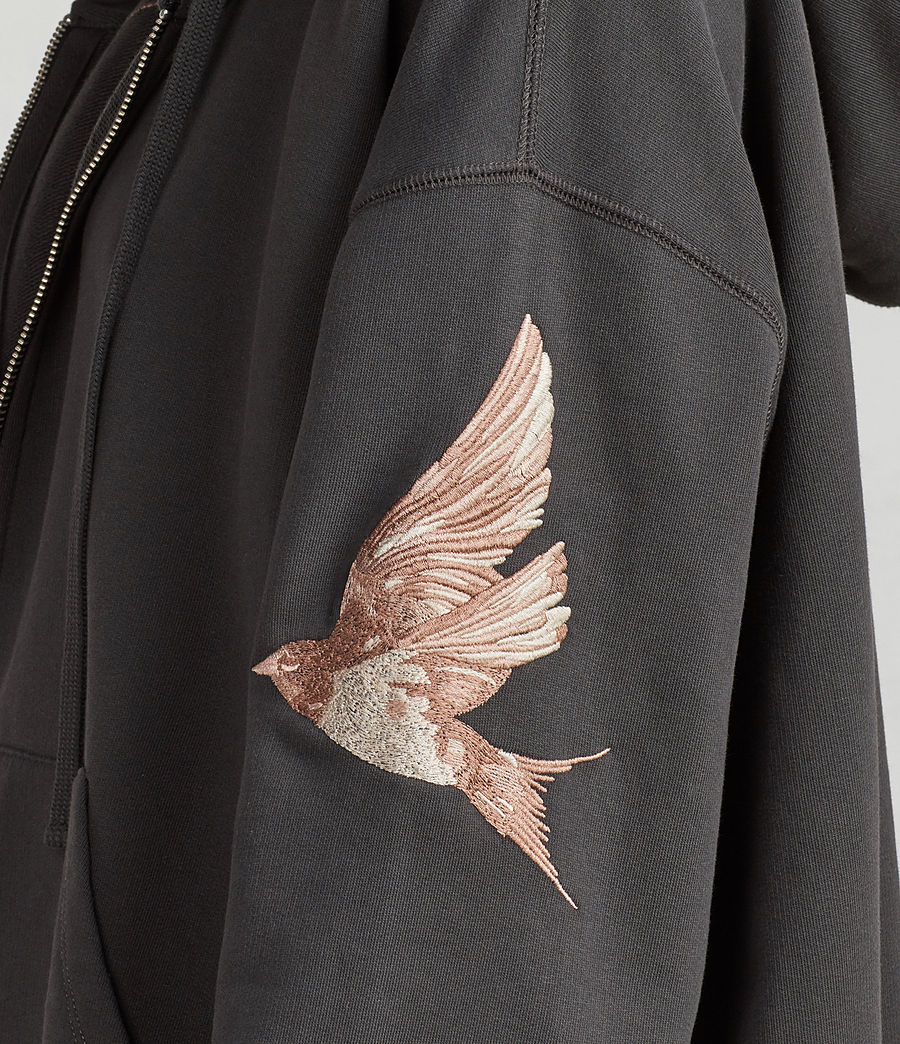 Womens Birds Hoodie (washed_black) - Image 4