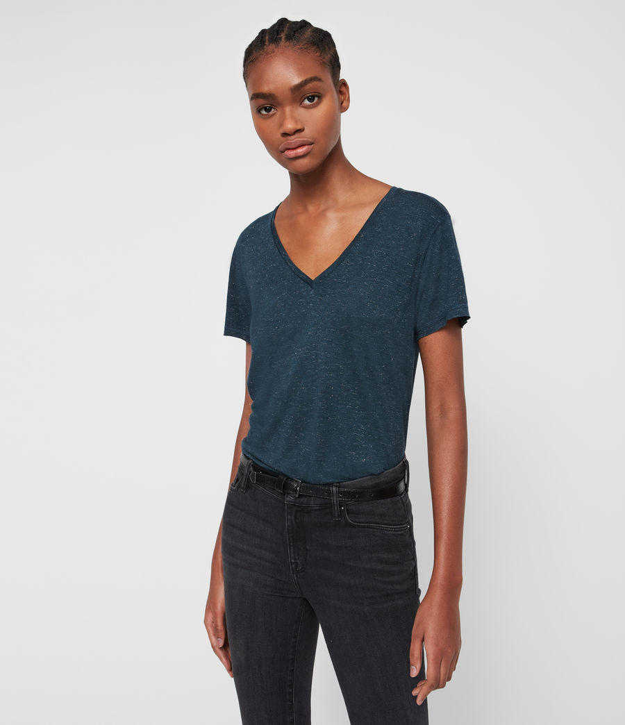 Womens Emelyn Shimmer T-Shirt (teal_blue) - Image 3