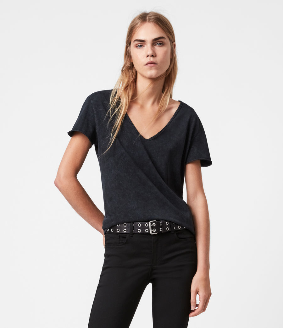 Damen Emelyn Budan T-Shirt (acid_washed_black) - Image 1