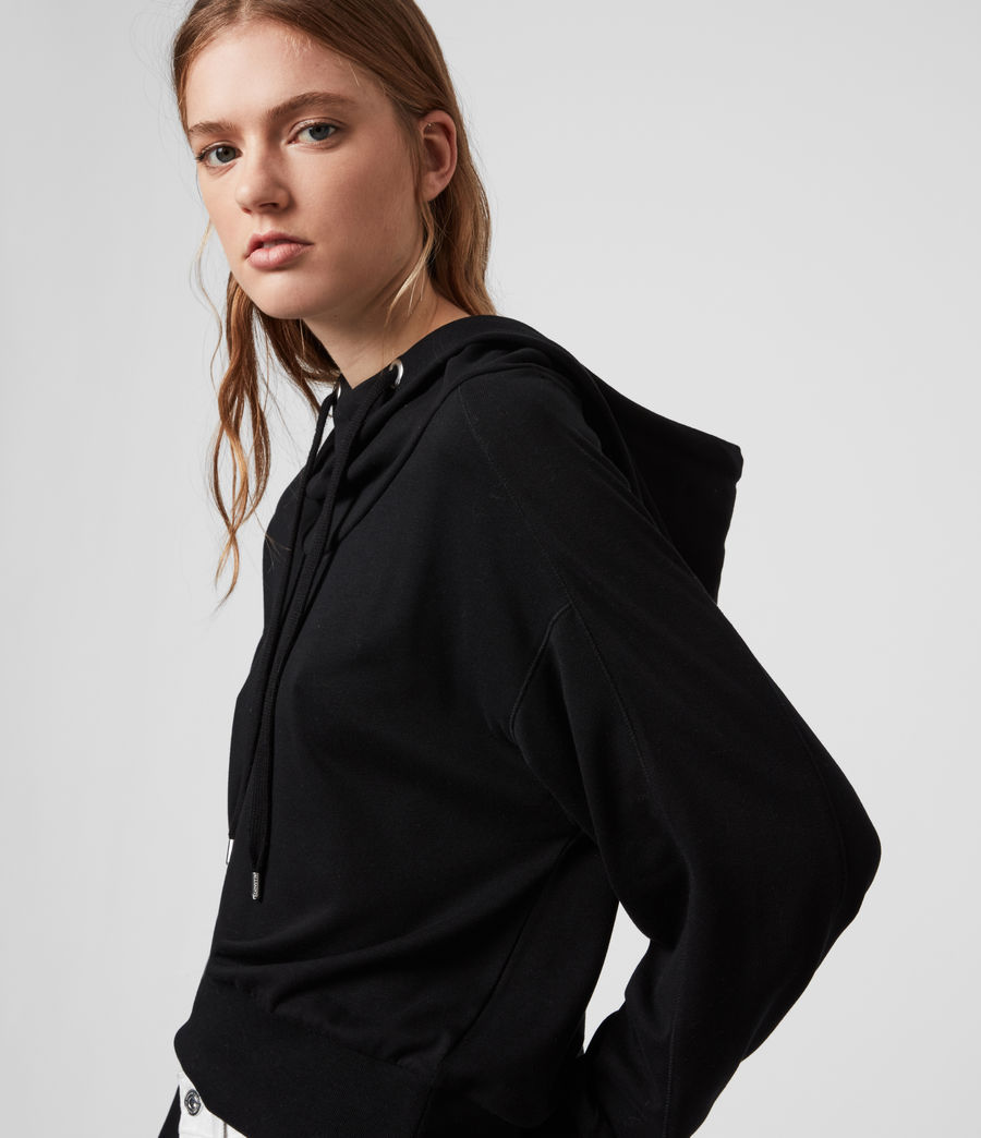 Femmes Sweat Court à Capuche Rita (black) - Image 1