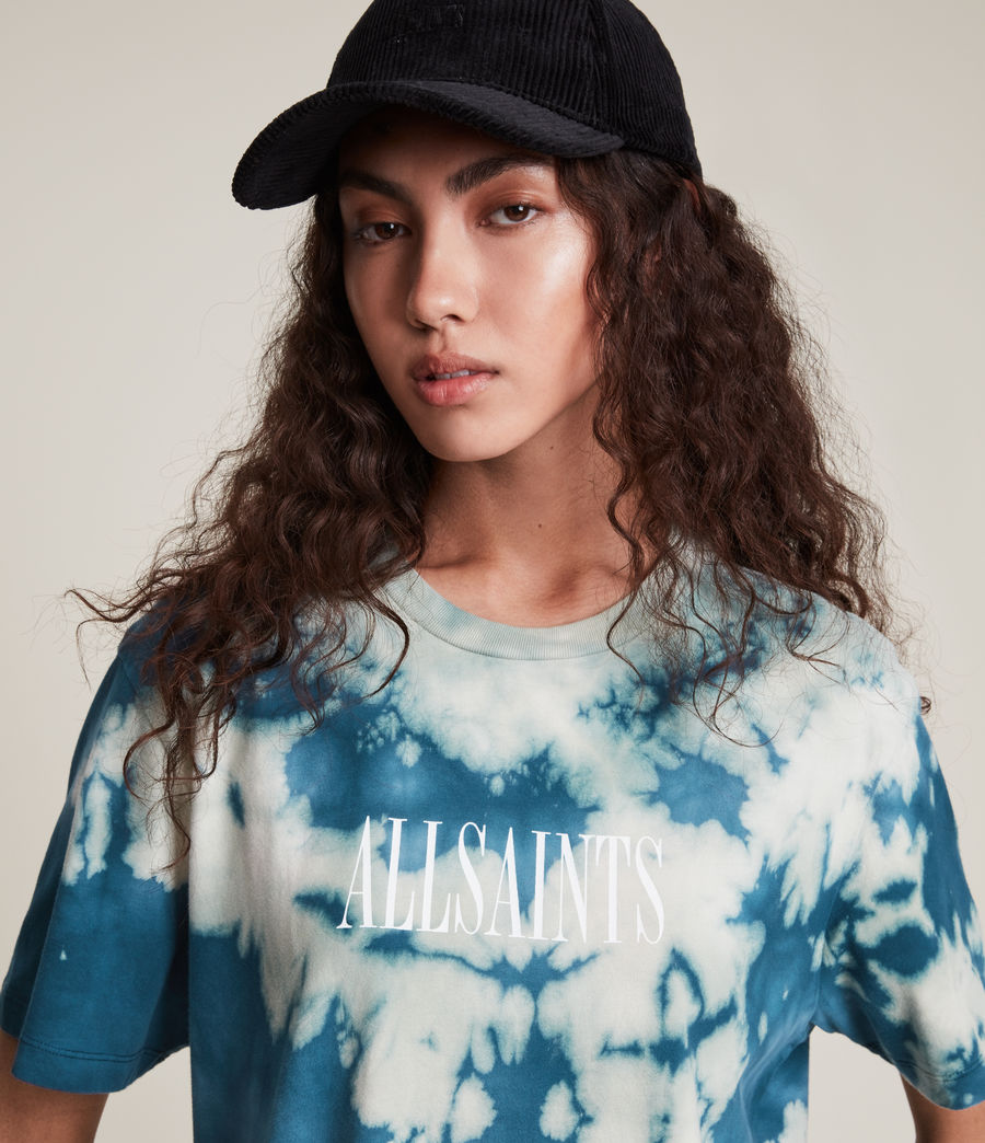 Damen Stamp Tie Dye Boyfriend T-Shirt (moonshadow_blue) - Image 2