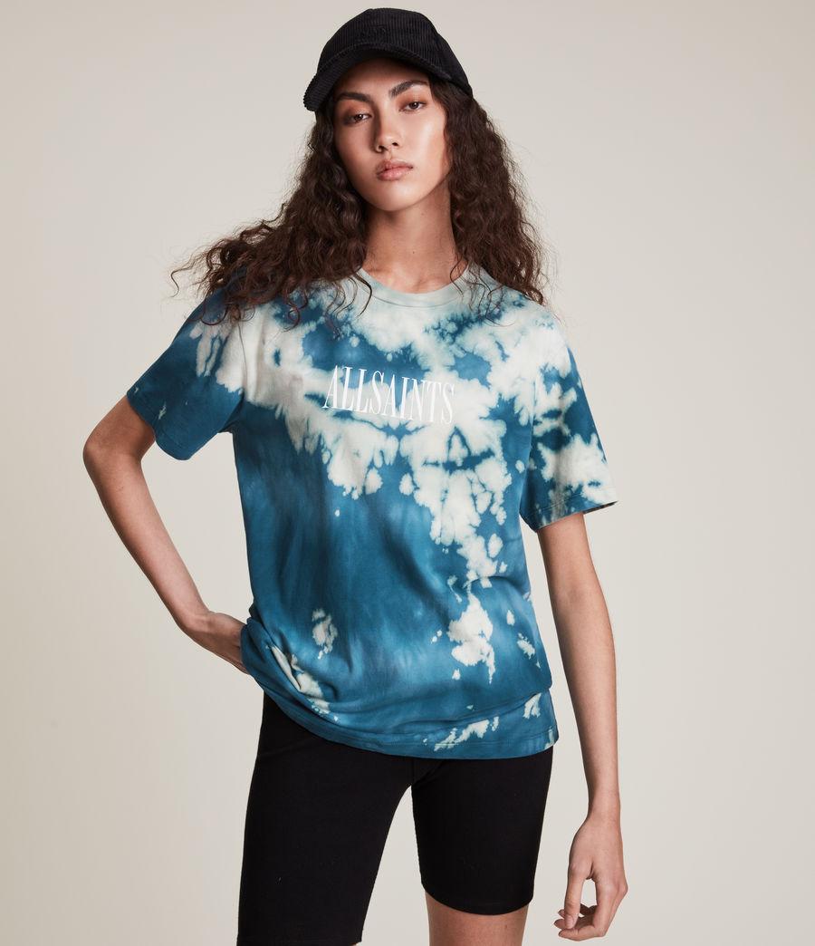 Damen Stamp Tie Dye Boyfriend T-Shirt (moonshadow_blue) - Image 3