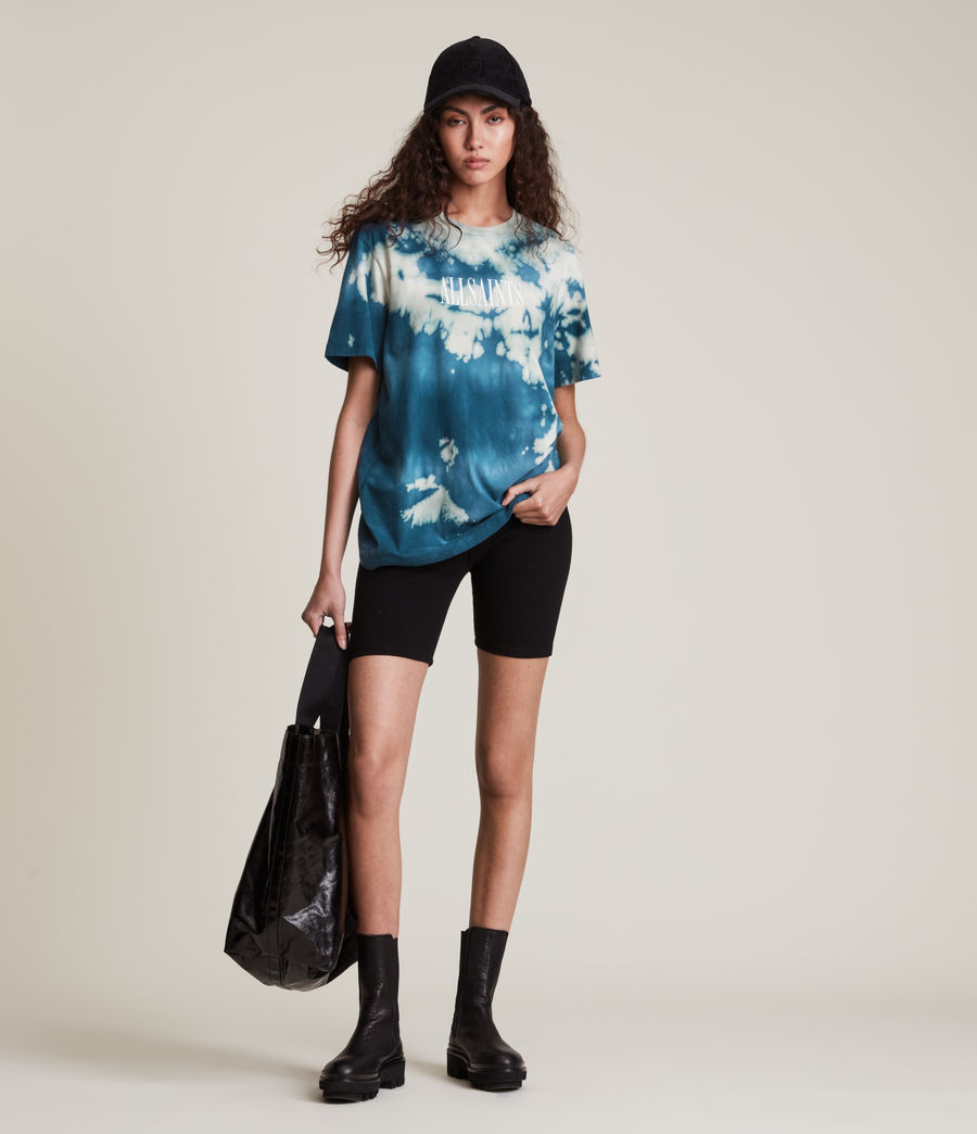 Damen Stamp Tie Dye Boyfriend T-Shirt (moonshadow_blue) - Image 4