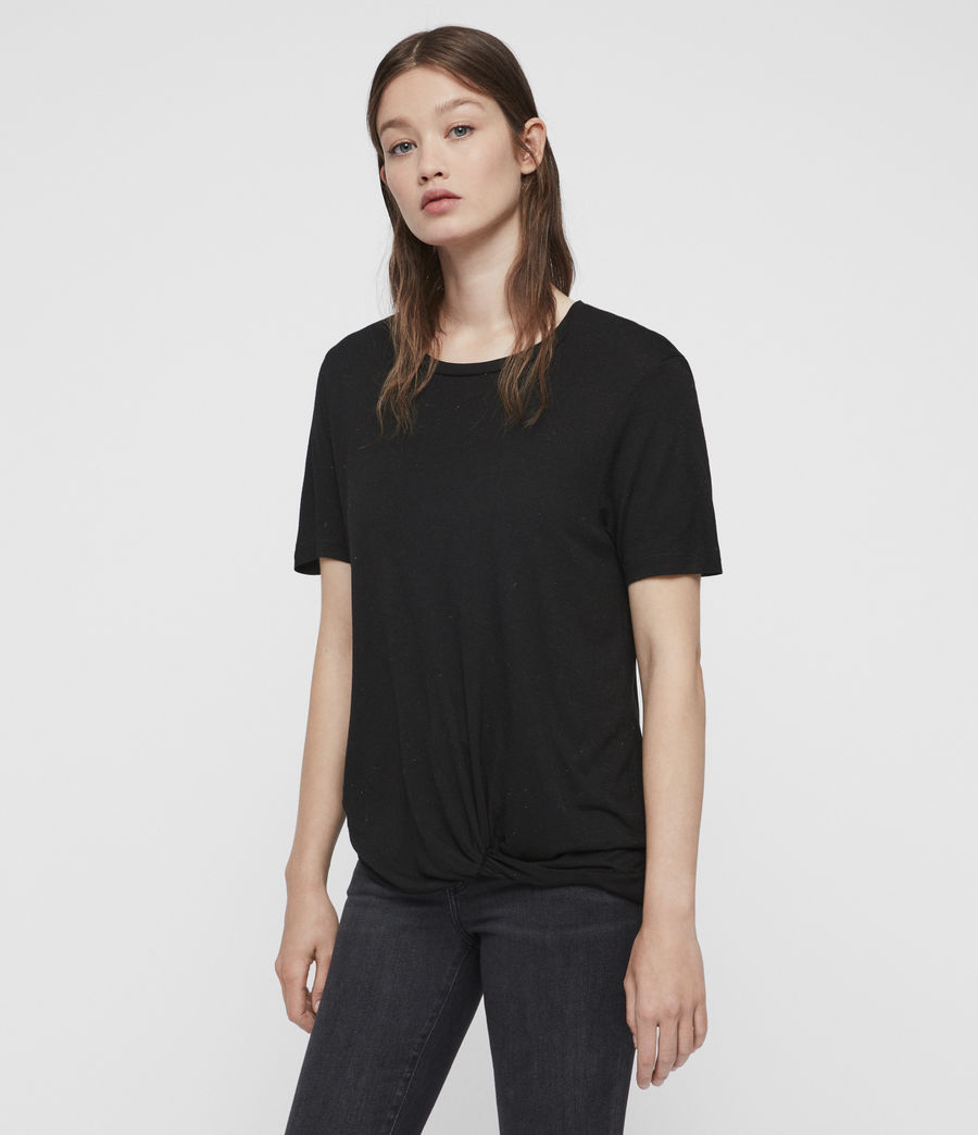 Femmes T-Shirt à Inserts Métalliques Wilma (black) - Image 4