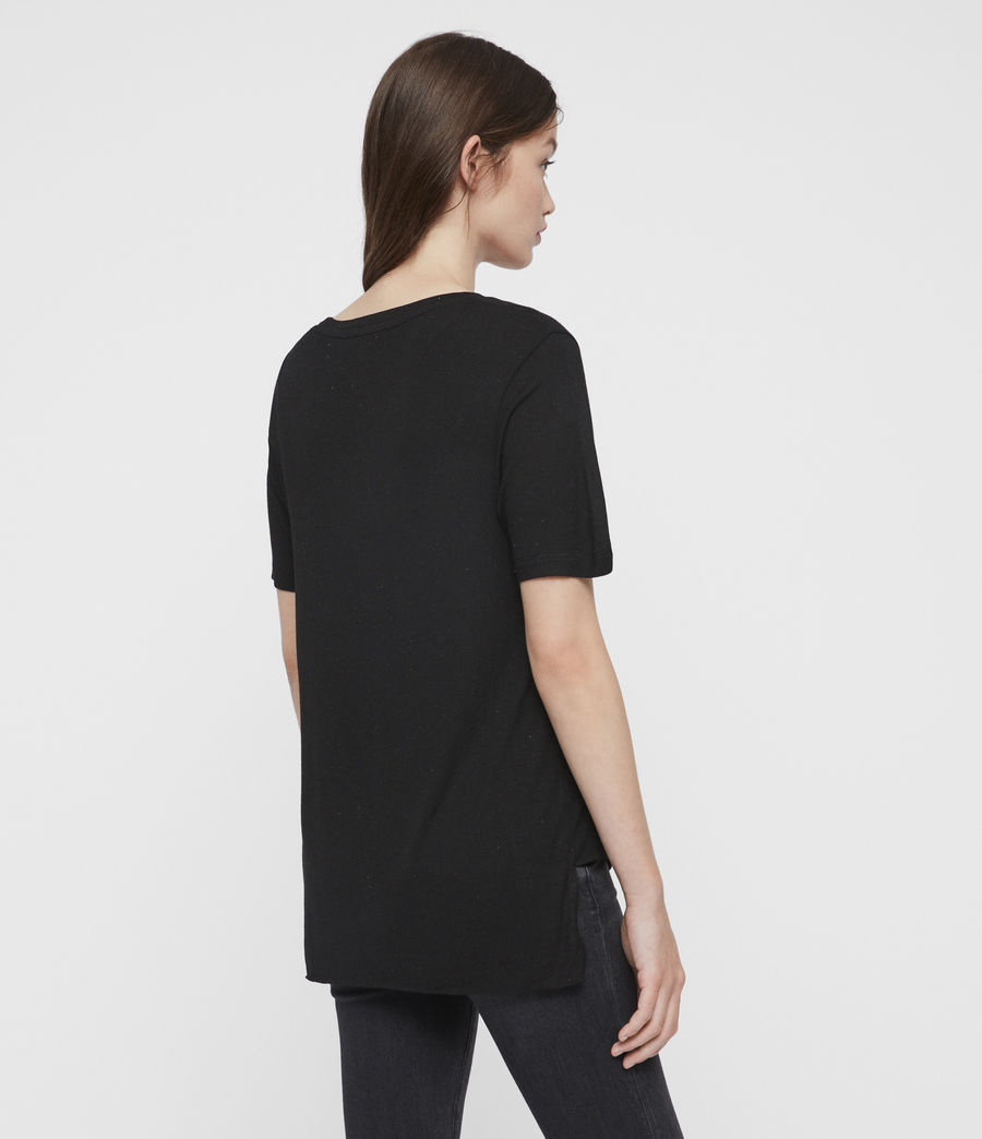 Femmes T-Shirt à Inserts Métalliques Wilma (black) - Image 5