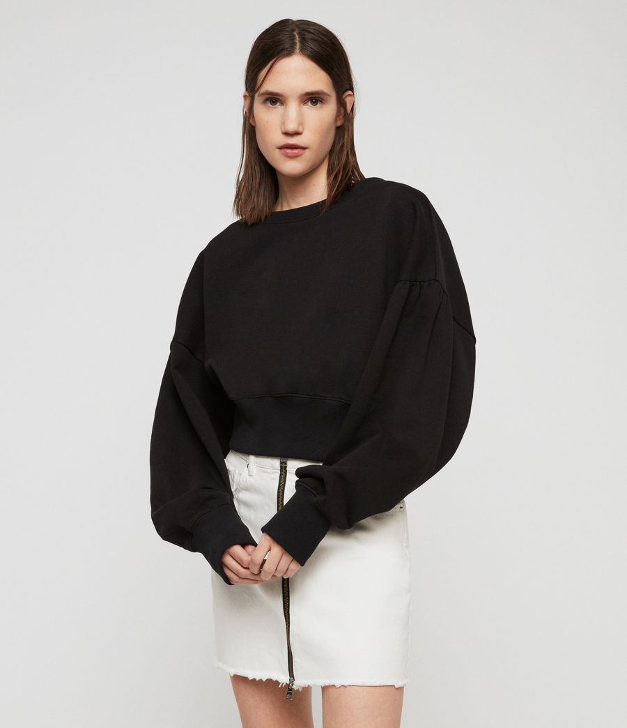 Women's Storn Cropped Sweatshirt (black) - Image 2