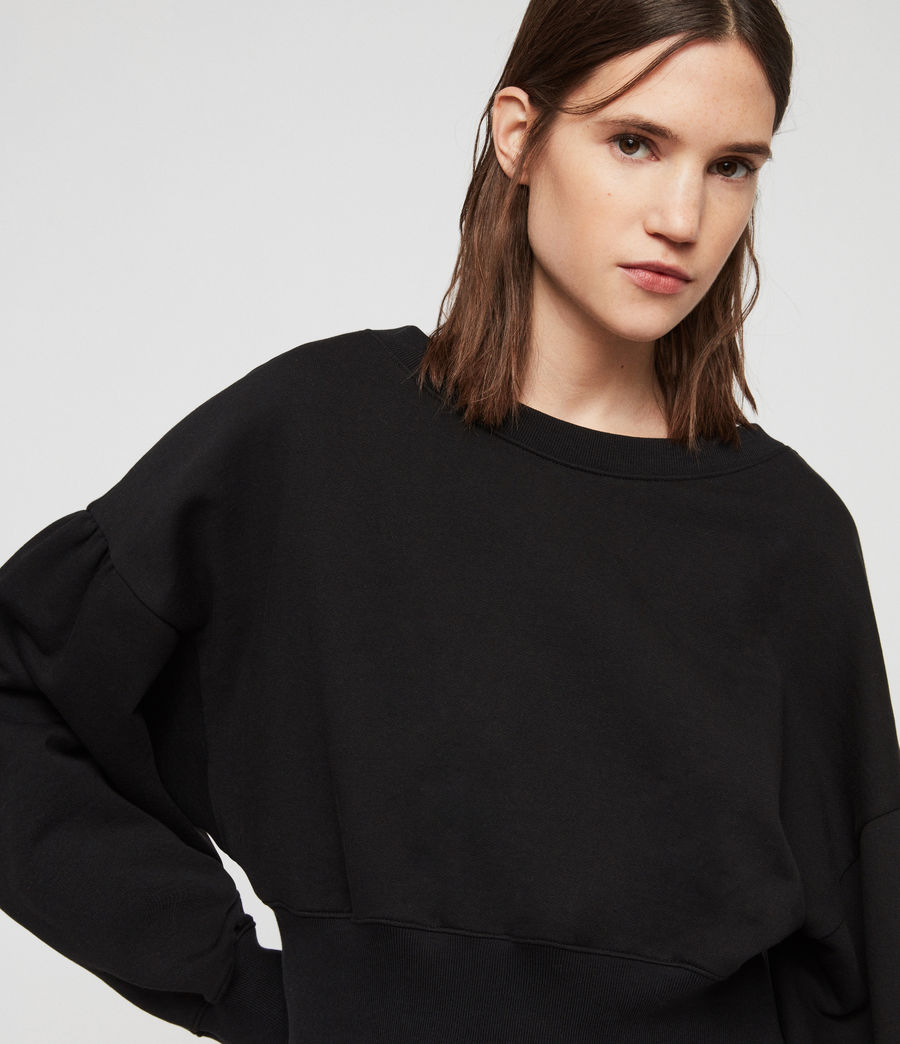 Women's Storn Cropped Sweatshirt (black) - Image 3