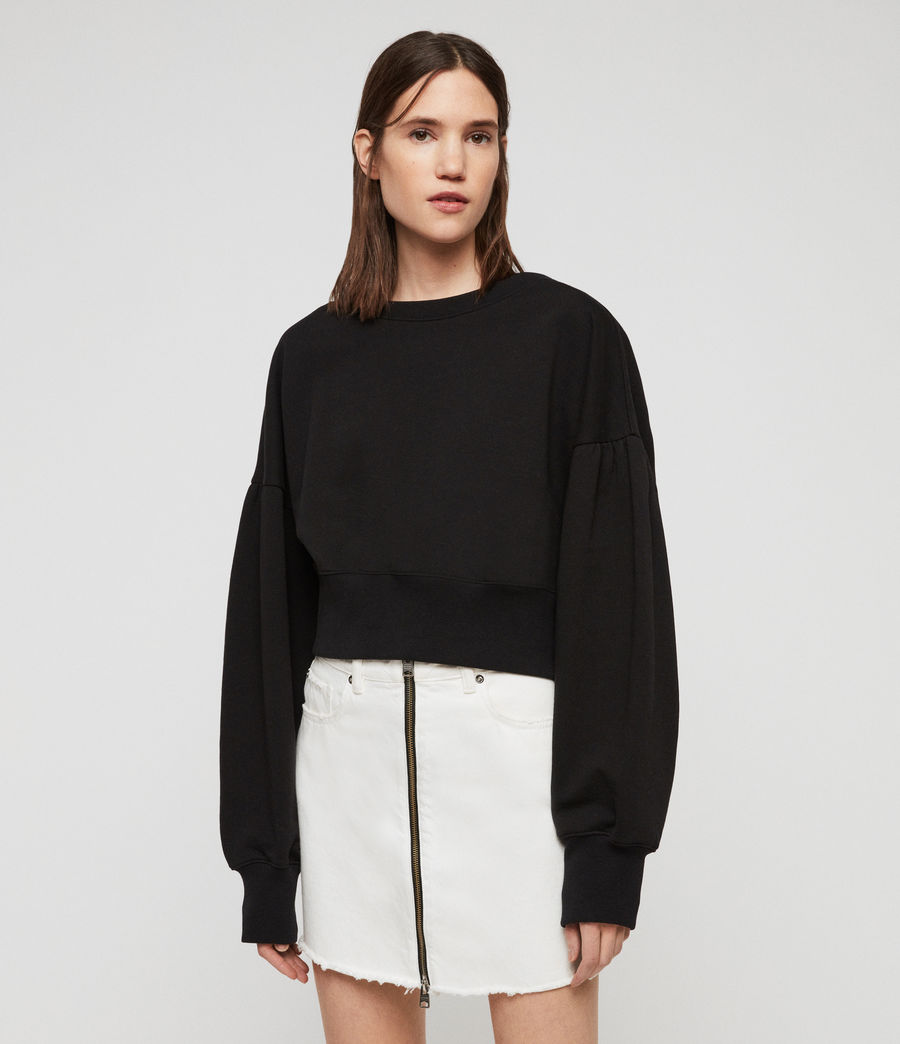 Women's Storn Cropped Sweatshirt (black) - Image 4