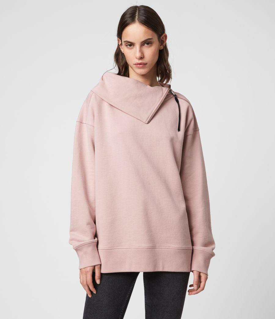 Donne Felpa Bella Zip - In cotone con collo asimmetrico (nude_pink) - Image 1