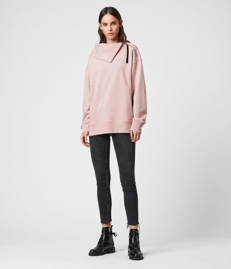 Donne Felpa Bella Zip - In cotone con collo asimmetrico (nude_pink) - Image 3