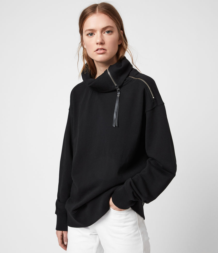 Womens Bella Zip Sweatshirt (black) - Image 1