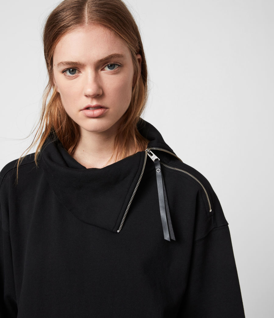 Womens Bella Zip Sweatshirt (black) - Image 2