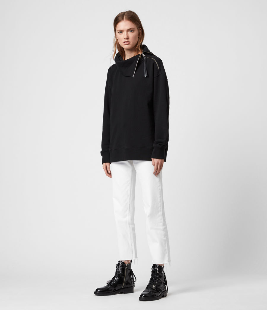 Womens Bella Zip Sweatshirt (black) - Image 3