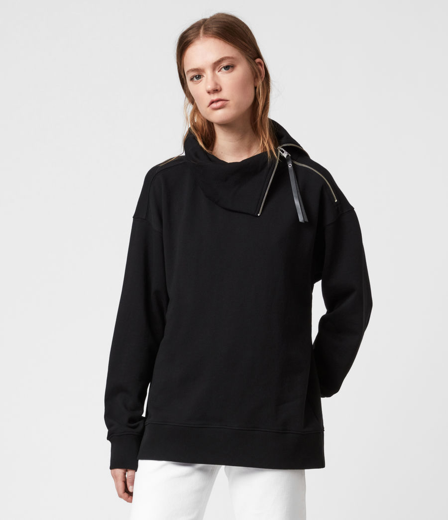 Womens Bella Zip Sweatshirt (black) - Image 4
