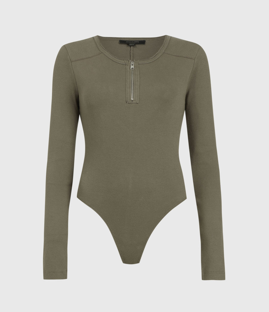 Womens Alicia Long Sleeve Bodysuit (utility_green) - Image 1