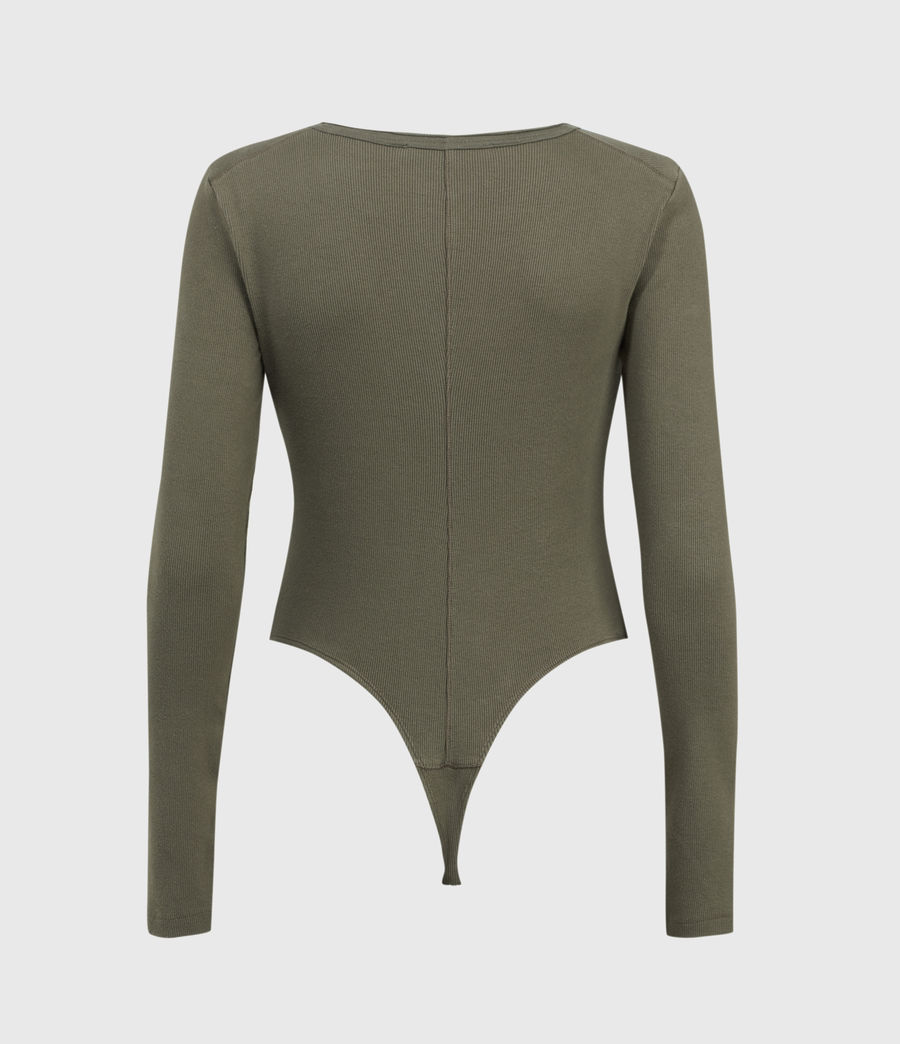 Womens Alicia Long Sleeve Bodysuit (utility_green) - Image 2