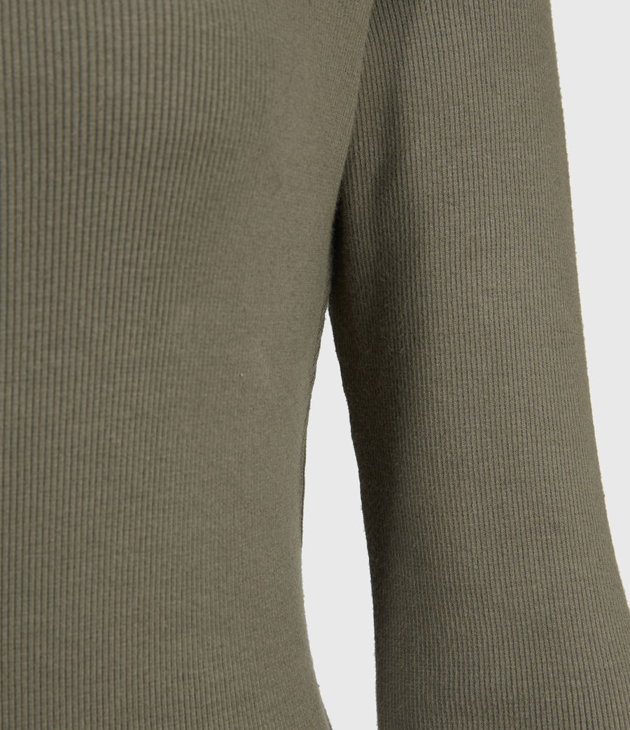 Womens Alicia Long Sleeve Bodysuit (utility_green) - Image 3