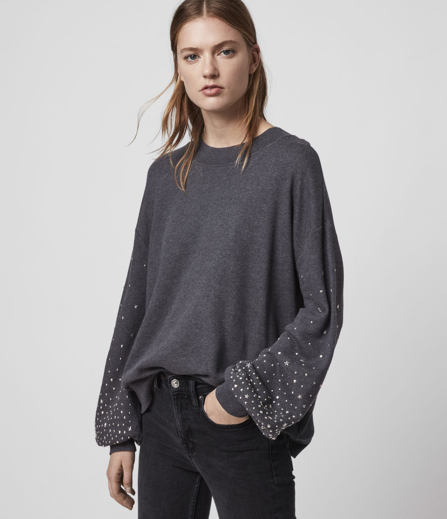 Womens Star Stud Sweatshirt (charcoal_marl) - Image 2