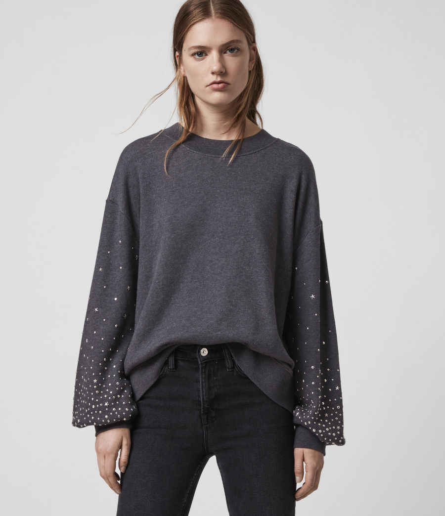 Womens Star Stud Sweatshirt (charcoal_marl) - Image 4