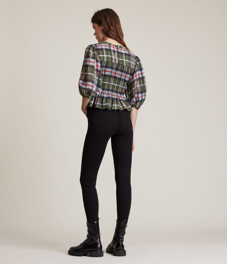 Women's Lia Check Top (khaki_green) - Image 6