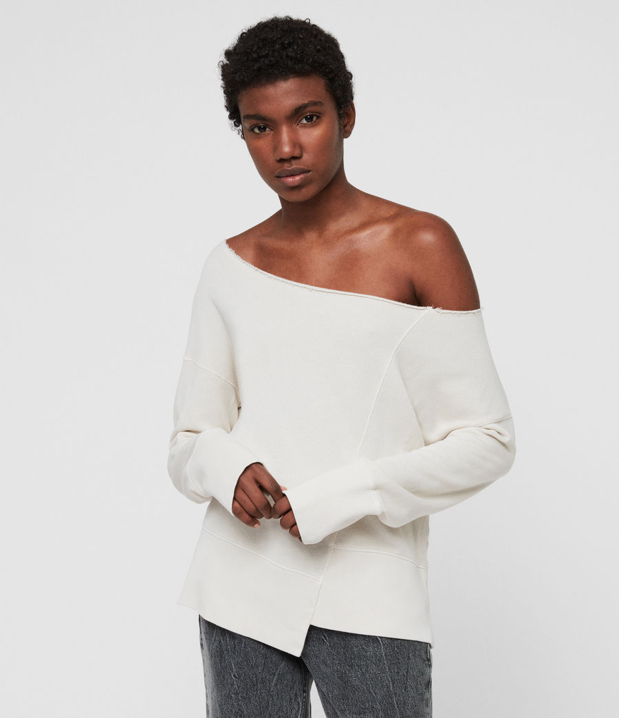 Women's Lando Off Shoulder Sweatshirt (ivory_white) - Image 1
