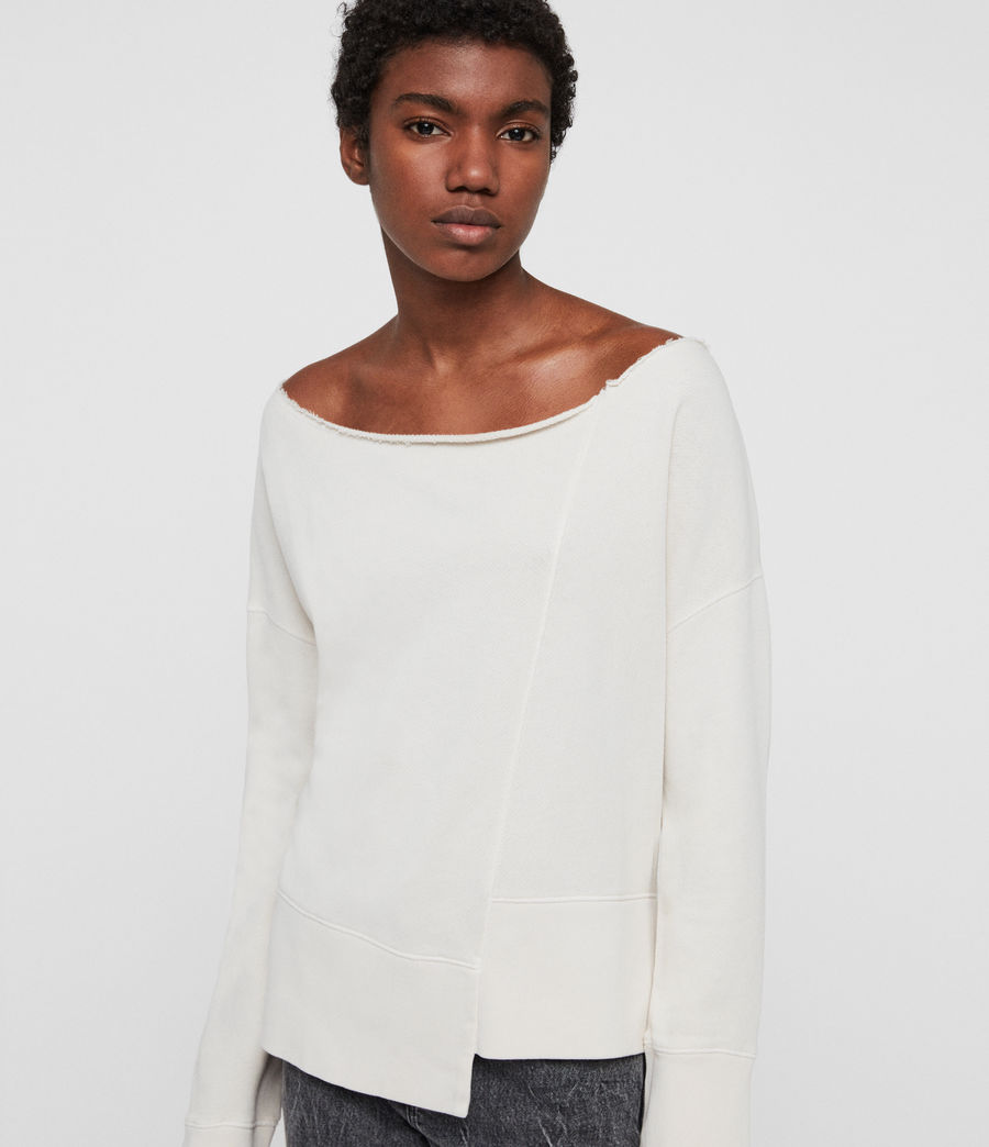 Women's Lando Off Shoulder Sweatshirt (ivory_white) - Image 3