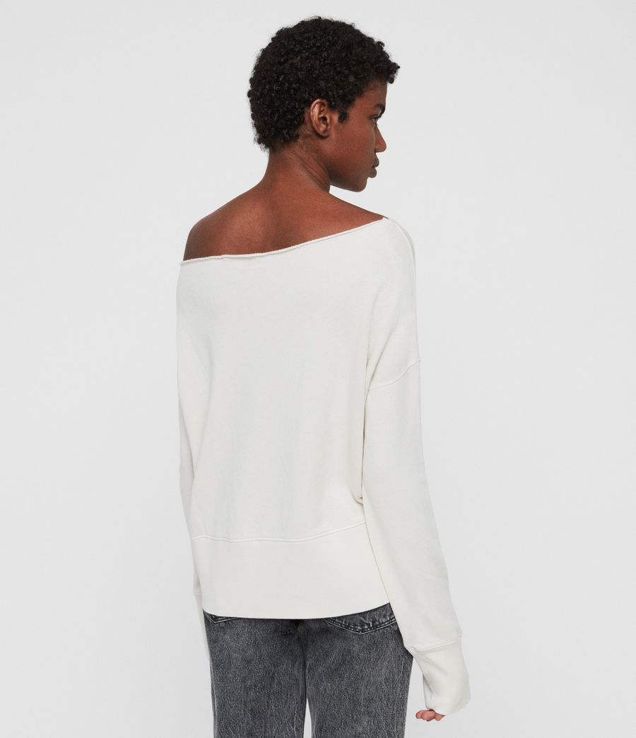 Women's Lando Off Shoulder Sweatshirt (ivory_white) - Image 6