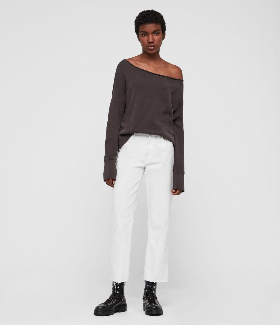 Womens Lando Off Shoulder Sweatshirt (mouse_grey) - Image 1