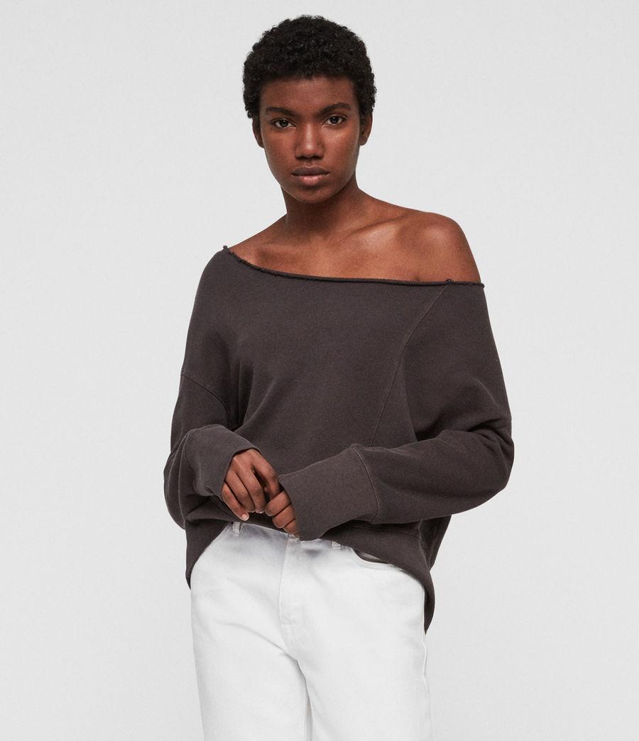 Womens Lando Off Shoulder Sweatshirt (mouse_grey) - Image 2
