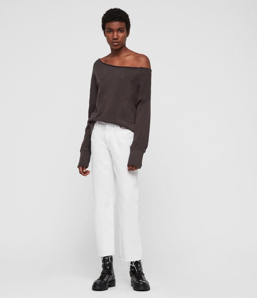 Womens Lando Off Shoulder Sweatshirt (mouse_grey) - Image 3