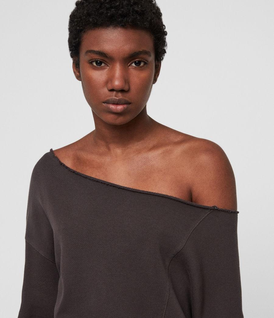 Womens Lando Off Shoulder Sweatshirt (mouse_grey) - Image 4