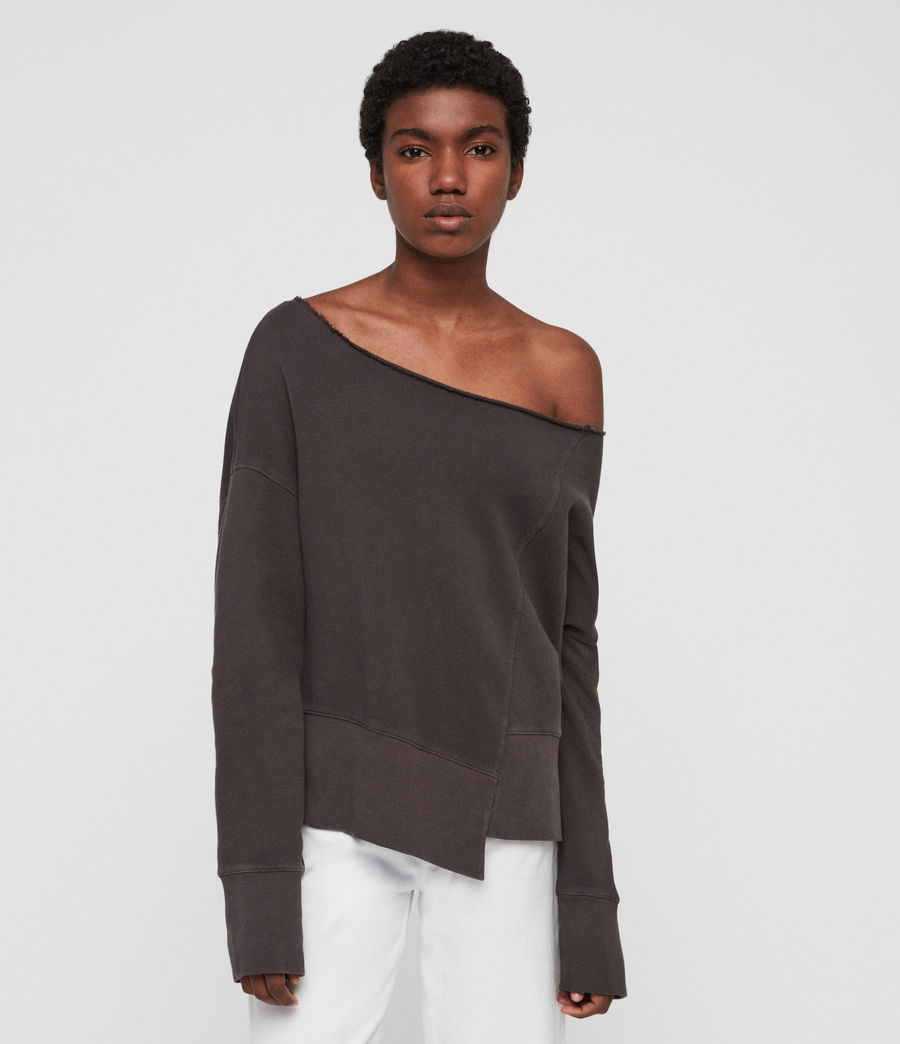 Womens Lando Off Shoulder Sweatshirt (mouse_grey) - Image 5