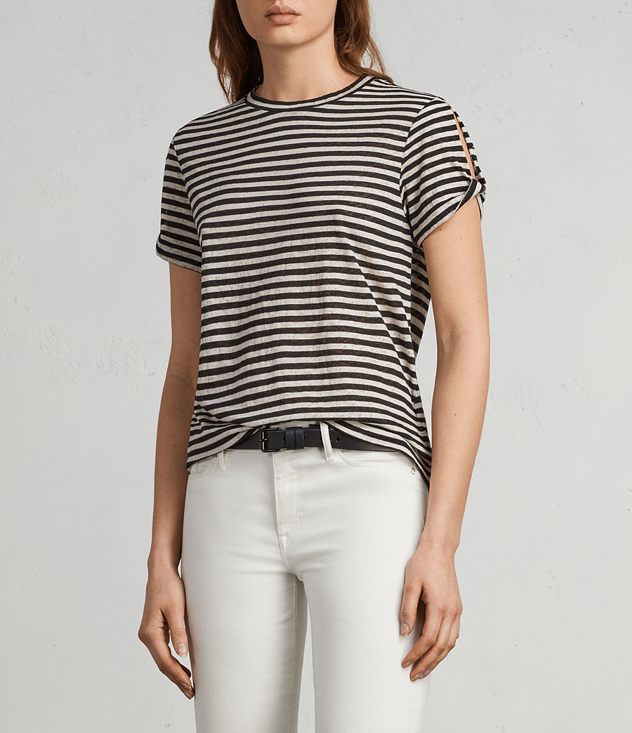 Femmes T-Shirt Mazzy Stripe (black_chalk_white) - Image 1