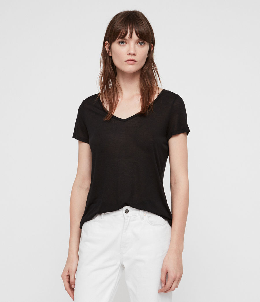 Women's Malin Silk T-Shirt (Black) - Image 1