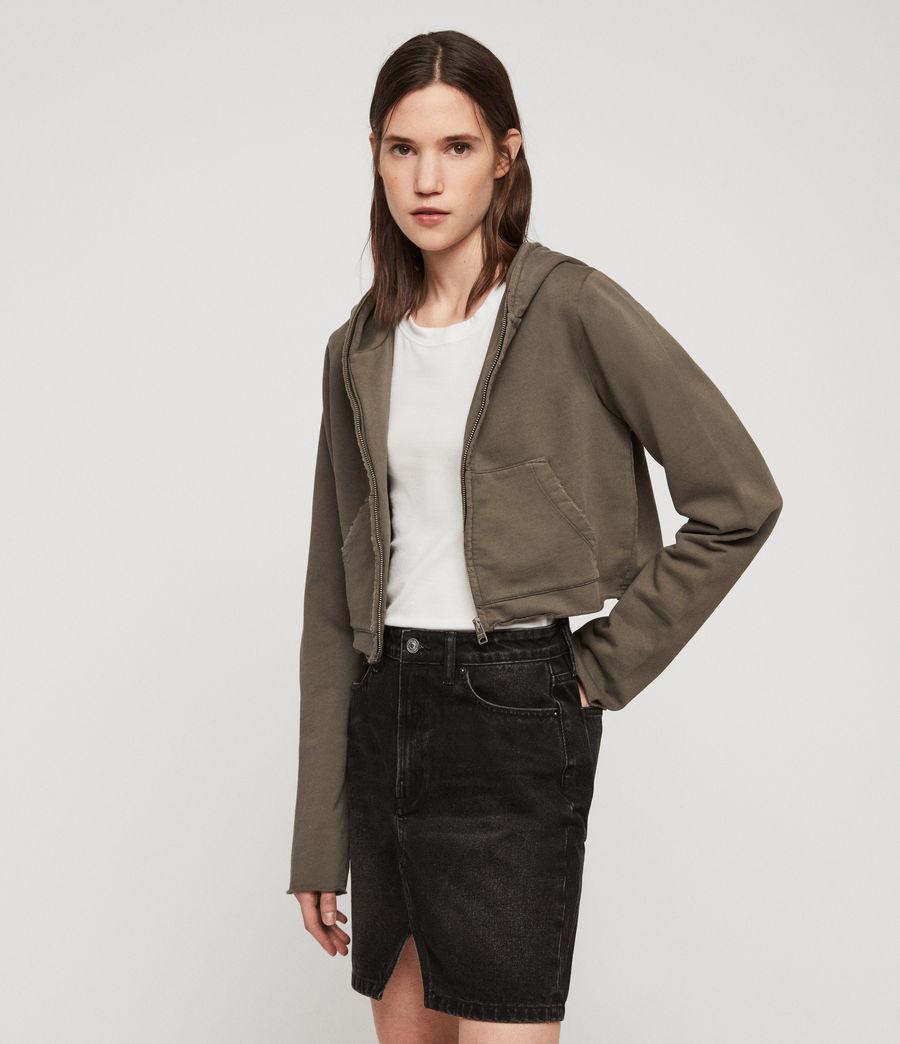Women's Xonda Crop Zip Hoodie (khaki) - Image 1