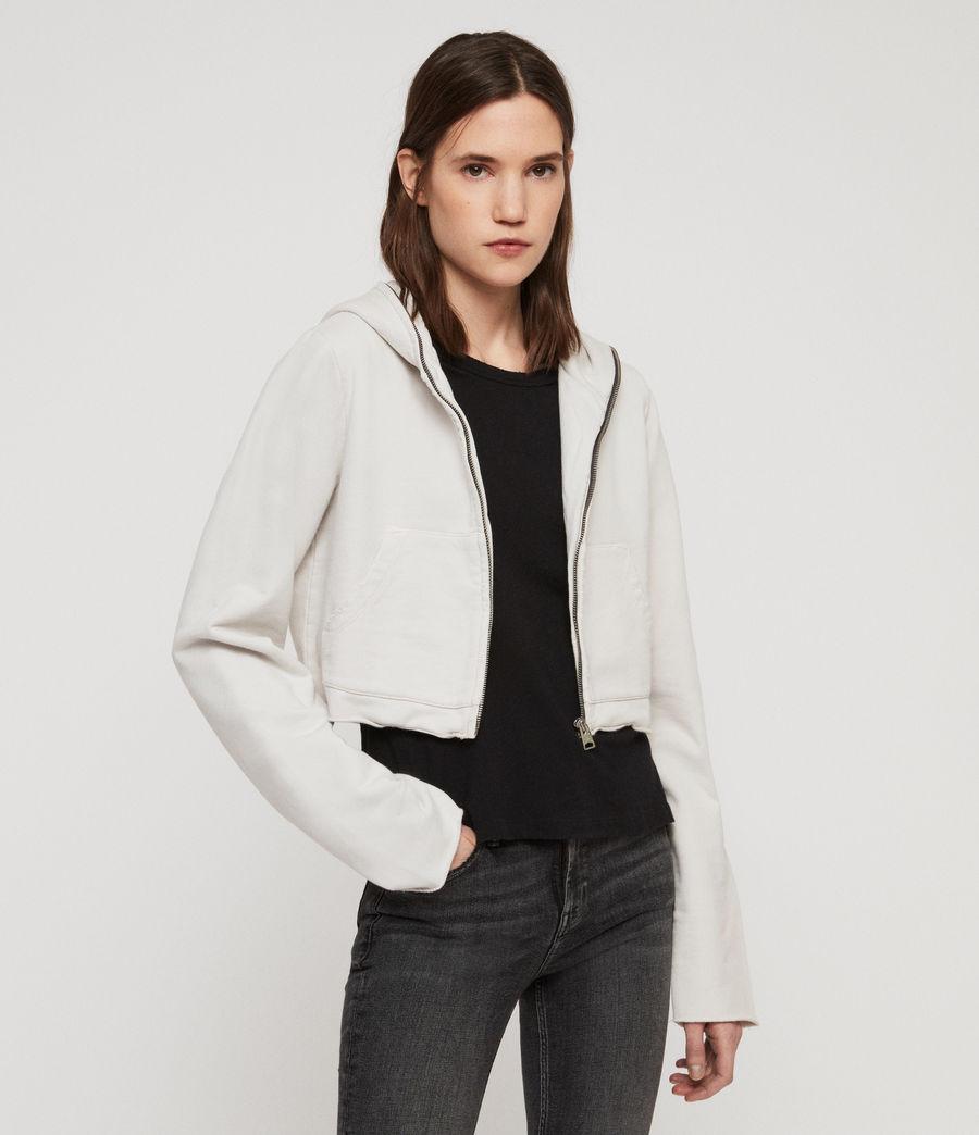 Women's Xonda Crop Zip Hoodie (ivory_white) - Image 1