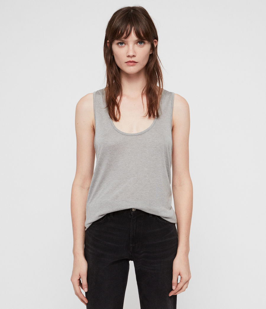Womens Malin Silk Tank (grey_marl) - Image 1