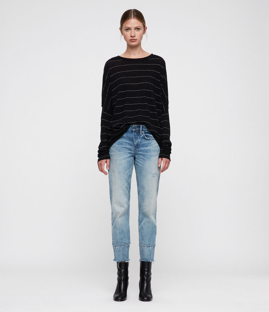 Womens Wave Stripe T-Shirt (black_chalk) - Image 1