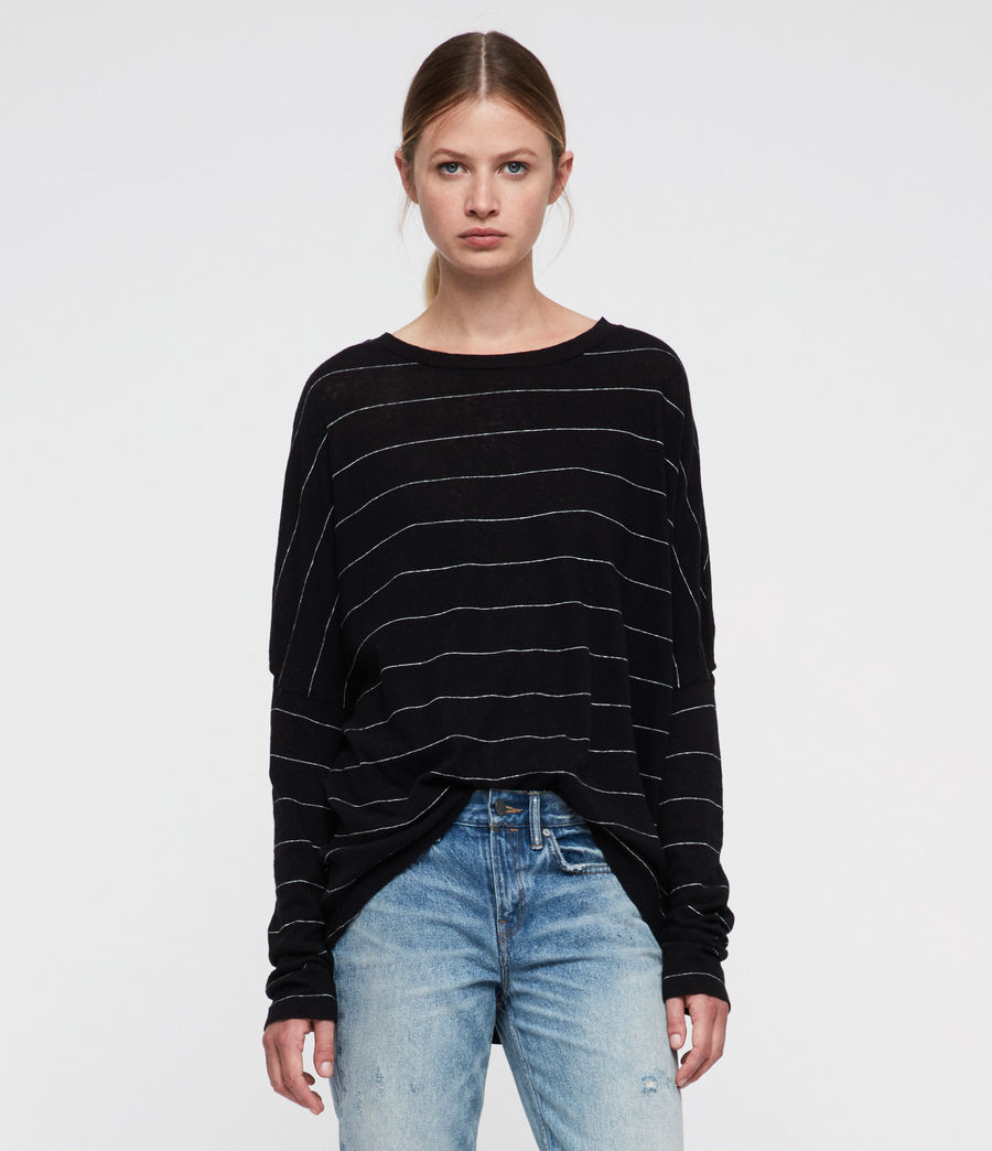 Womens Wave Stripe T-Shirt (black_chalk) - Image 2
