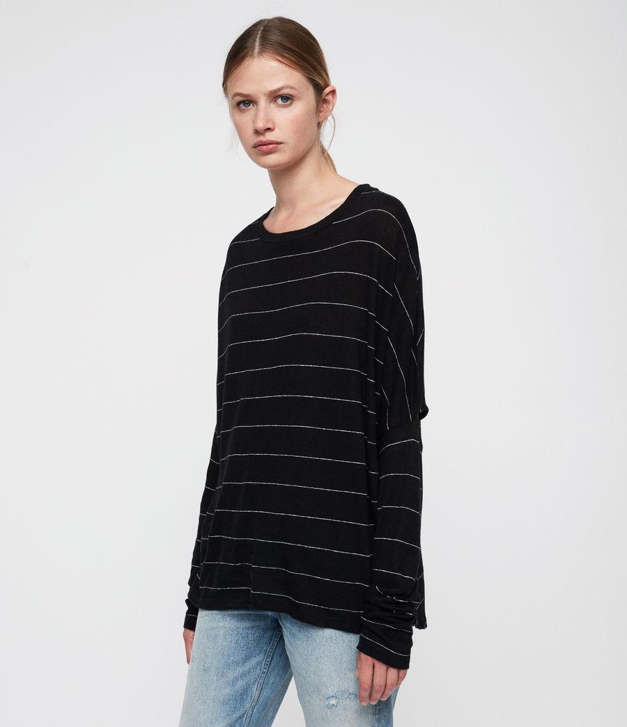 Womens Wave Stripe T-Shirt (black_chalk) - Image 3