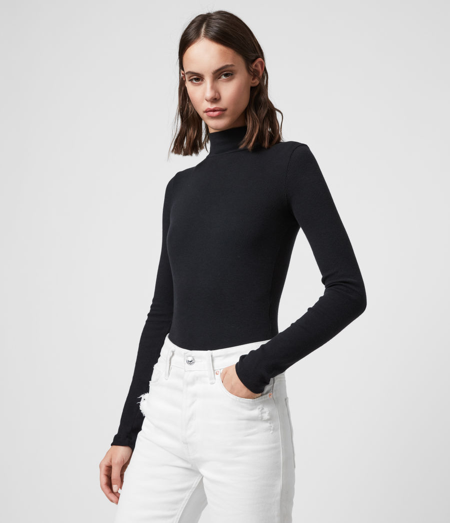Women's Raffi Roll Neck Bodysuit (black) - Image 2