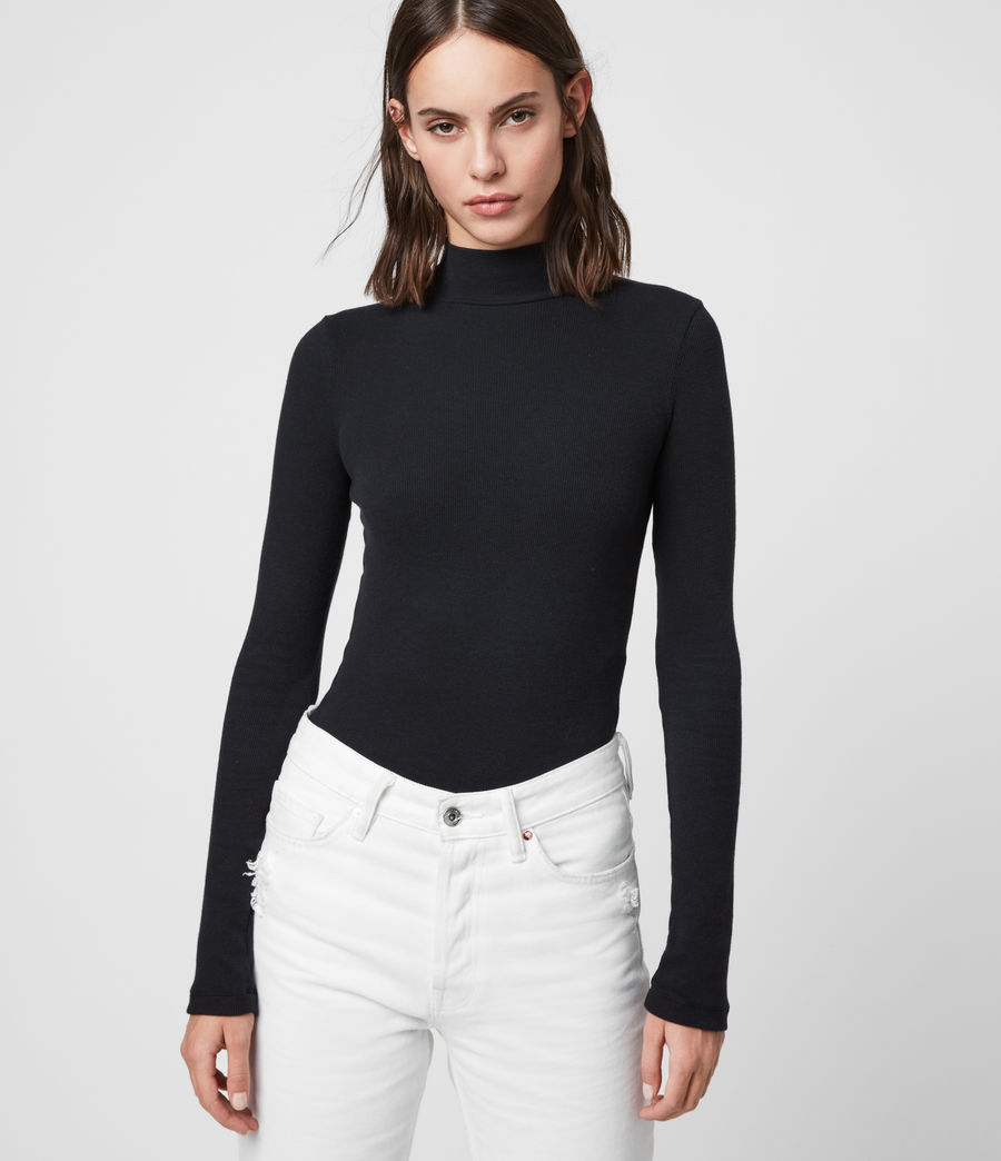 Women's Raffi Roll Neck Bodysuit (black) - Image 4