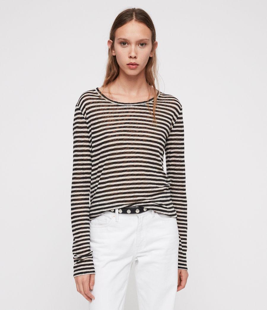 Damen Esme Stripe Langarm T-Shirt (black_chalk_white) - Image 1