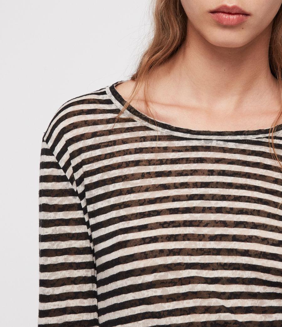 Damen Esme Stripe Langarm T-Shirt (black_chalk_white) - Image 2