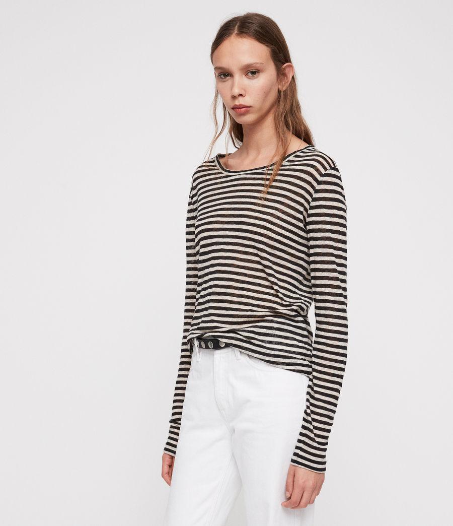 Damen Esme Stripe Langarm T-Shirt (black_chalk_white) - Image 3