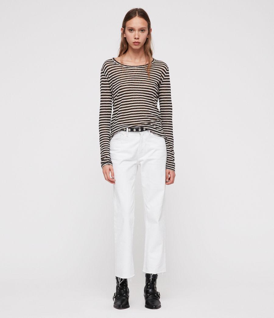 Damen Esme Stripe Langarm T-Shirt (black_chalk_white) - Image 4